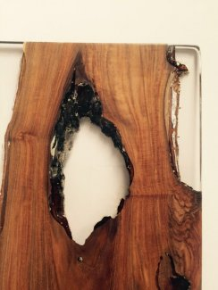 Salvaged Teak From A Forest Fire Encased in Clear resin